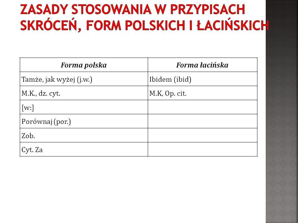 Zasady stosowania w przypisach skróceń, form polskich i łacińskich