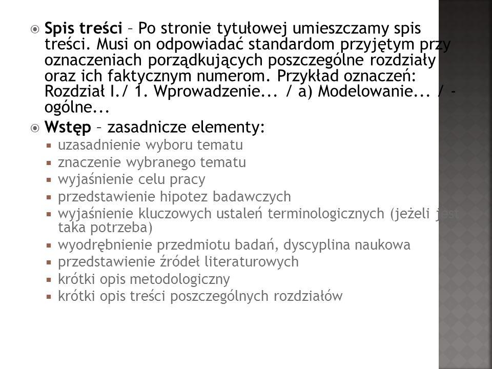 Wstęp – zasadnicze elementy:
