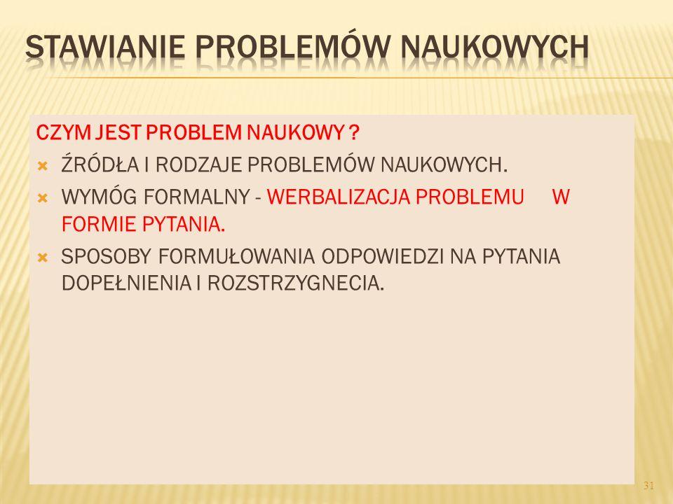 STAWIANIE PROBLEMÓW NAUKOWYCH