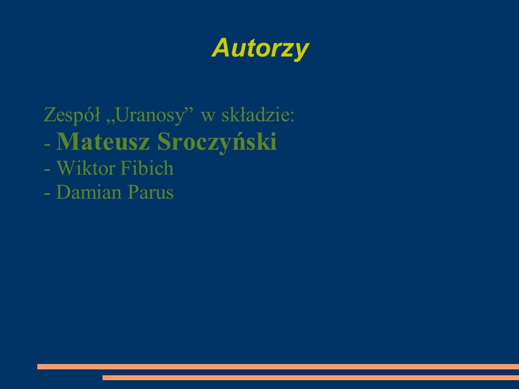 """Autorzy Zespół """"Uranosy w składzie: - Mateusz Sroczyński"""
