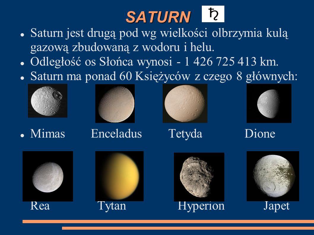 SATURN Saturn jest drugą pod wg wielkości olbrzymia kulą gazową zbudowaną z wodoru i helu. Odległość os Słońca wynosi - 1 426 725 413 km.