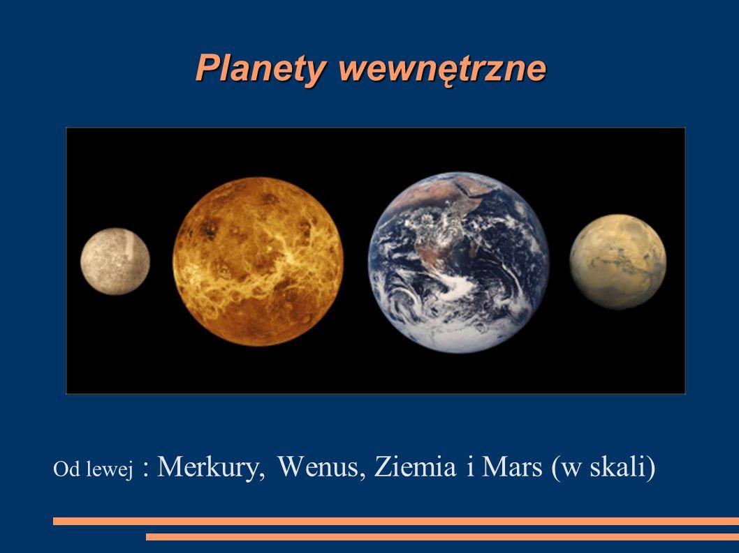 Planety wewnętrzne Od lewej : Merkury, Wenus, Ziemia i Mars (w skali)