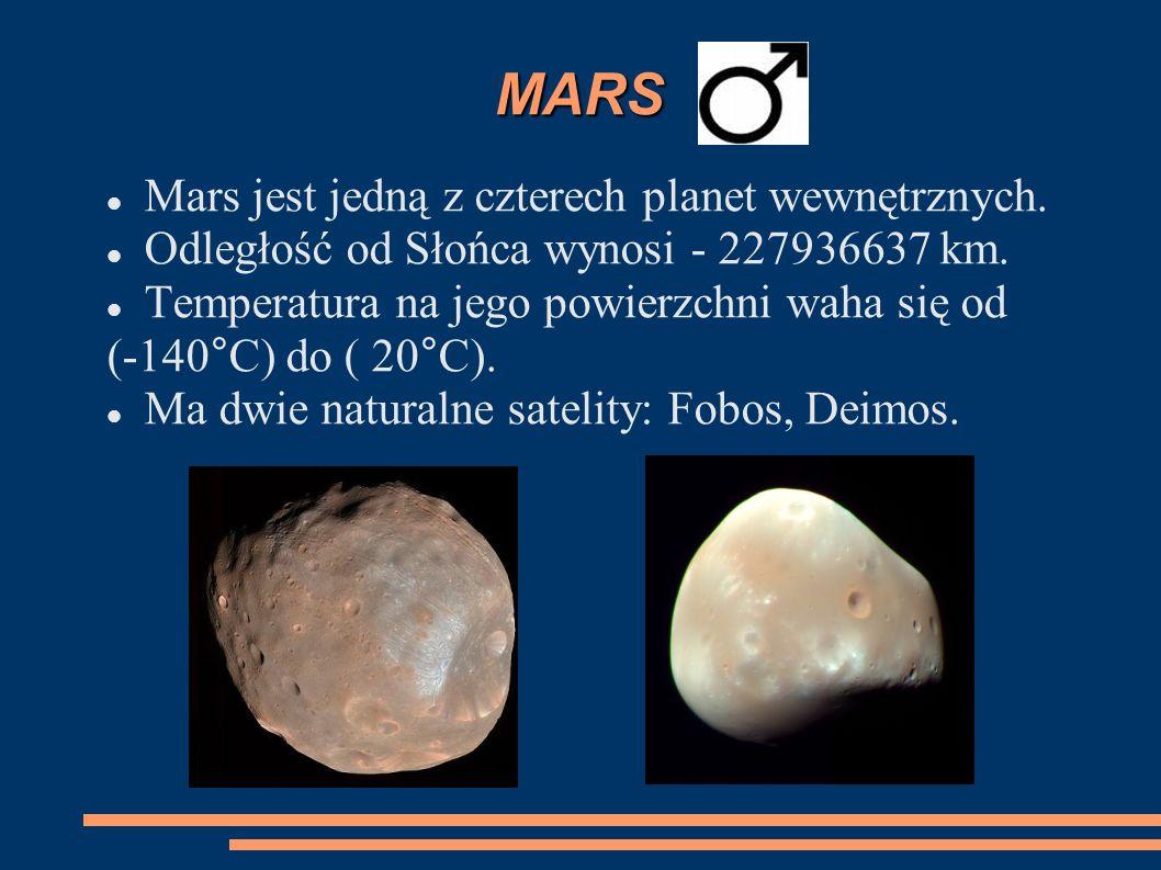 MARS Mars jest jedną z czterech planet wewnętrznych.