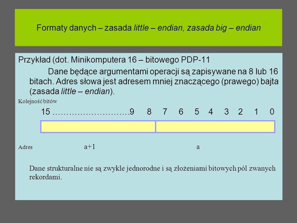 Formaty danych – zasada little – endian, zasada big – endian