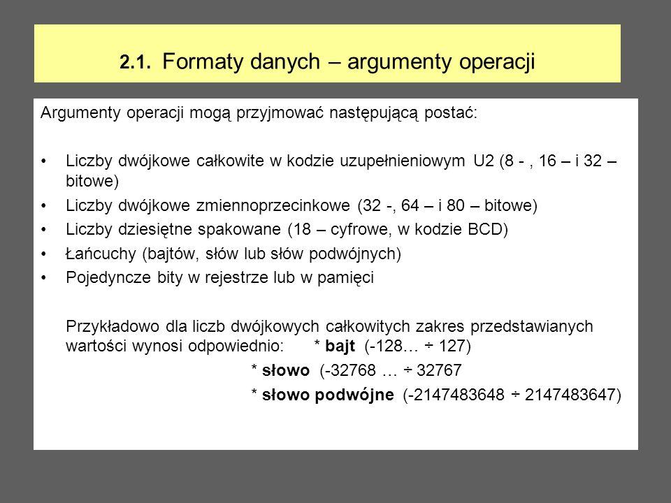 2.1. Formaty danych – argumenty operacji