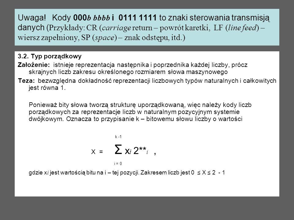 Uwaga! Kody 000b bbbb i 0111 1111 to znaki sterowania transmisją danych (Przykłady: CR (carriage return – powrót karetki, LF (line feed) – wiersz zapełniony, SP (space) – znak odstępu, itd.)