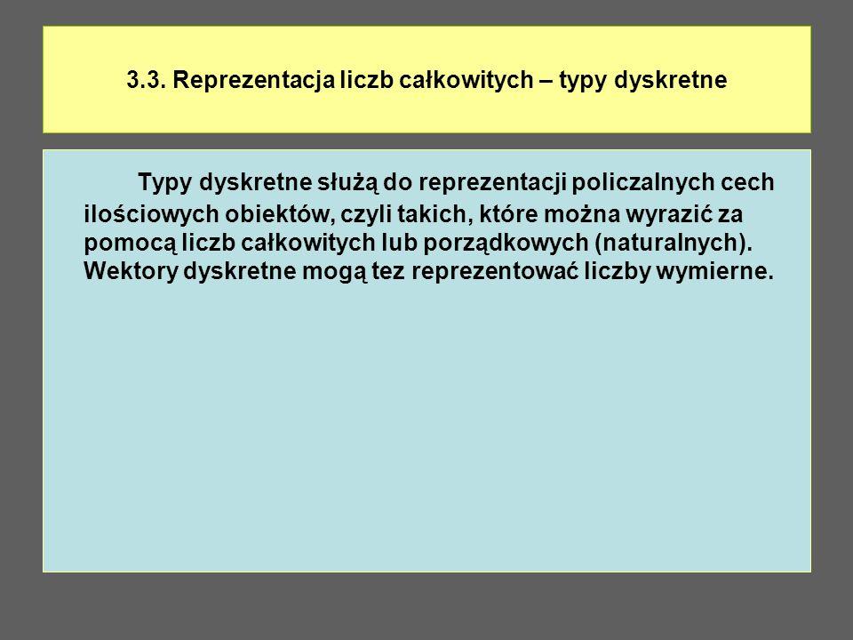3.3. Reprezentacja liczb całkowitych – typy dyskretne