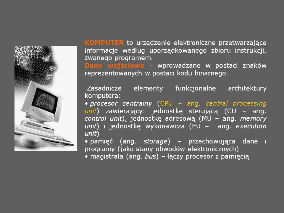 KOMPUTER to urządzenie elektroniczne przetwarzające informacje według uporządkowanego zbioru instrukcji, zwanego programem.