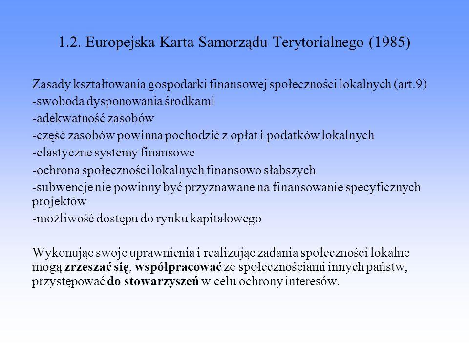 1.2. Europejska Karta Samorządu Terytorialnego (1985)