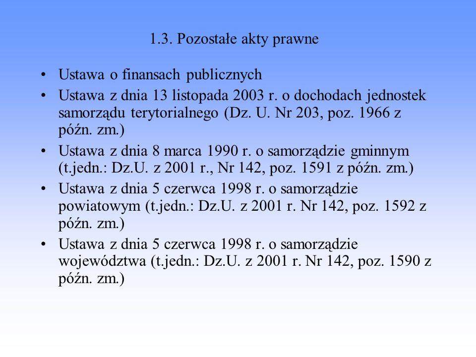 1.3. Pozostałe akty prawneUstawa o finansach publicznych.