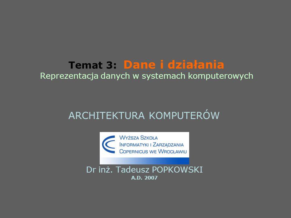 ARCHITEKTURA KOMPUTERÓW Dr inż. Tadeusz POPKOWSKI A.D. 2007