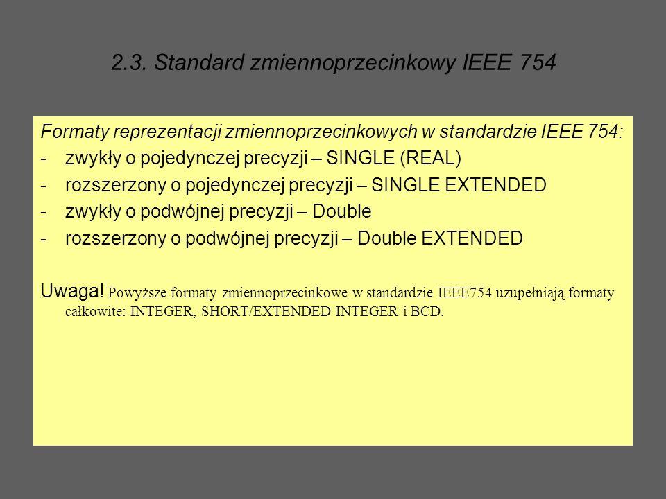 2.3. Standard zmiennoprzecinkowy IEEE 754