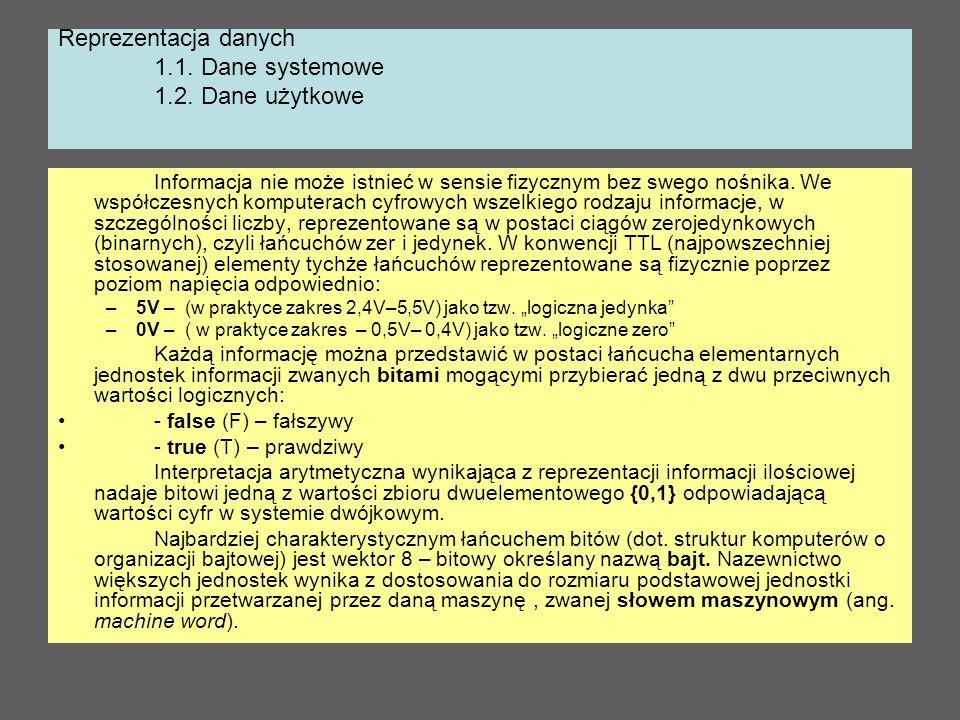 Reprezentacja danych 1.1. Dane systemowe 1.2. Dane użytkowe