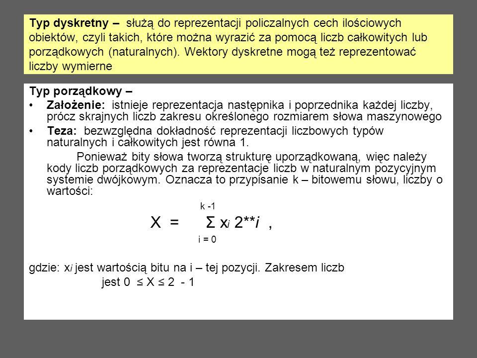 Typ dyskretny – służą do reprezentacji policzalnych cech ilościowych obiektów, czyli takich, które można wyrazić za pomocą liczb całkowitych lub porządkowych (naturalnych). Wektory dyskretne mogą też reprezentować liczby wymierne