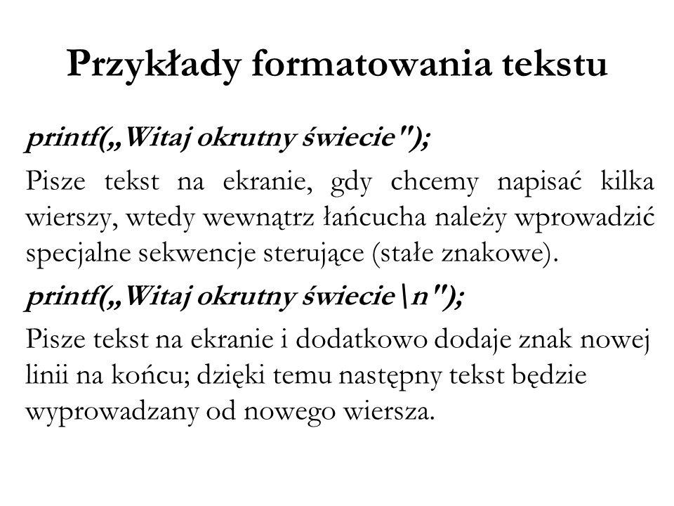 Przykłady formatowania tekstu