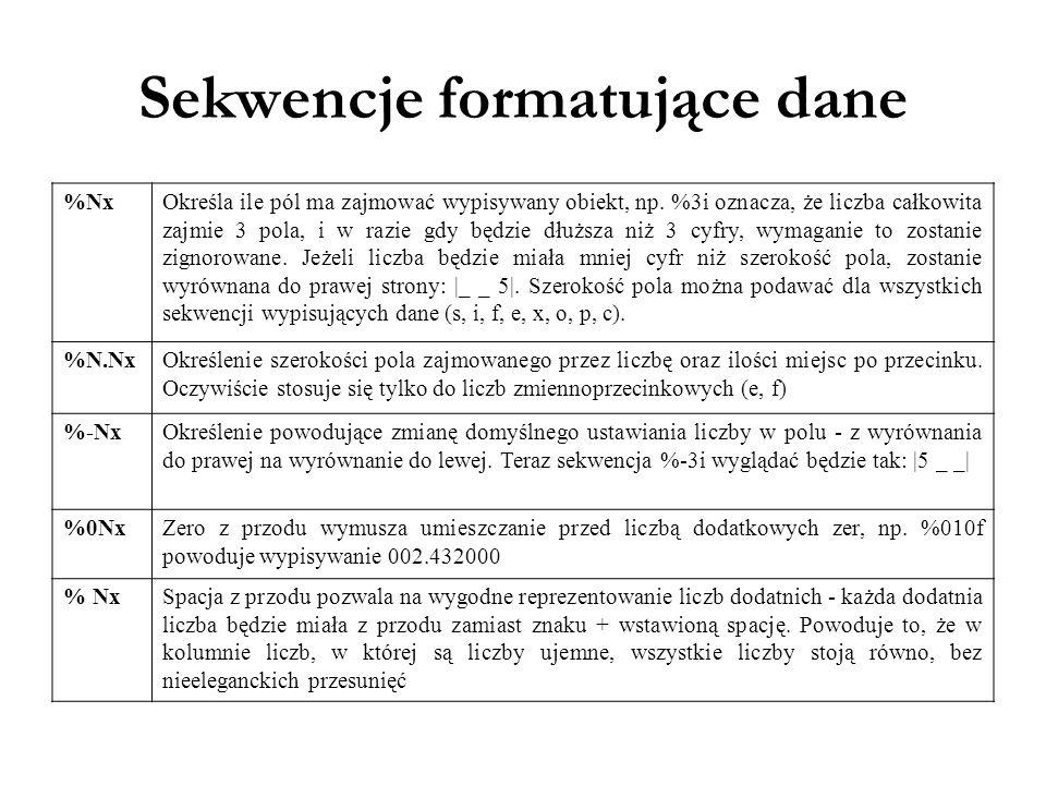Sekwencje formatujące dane