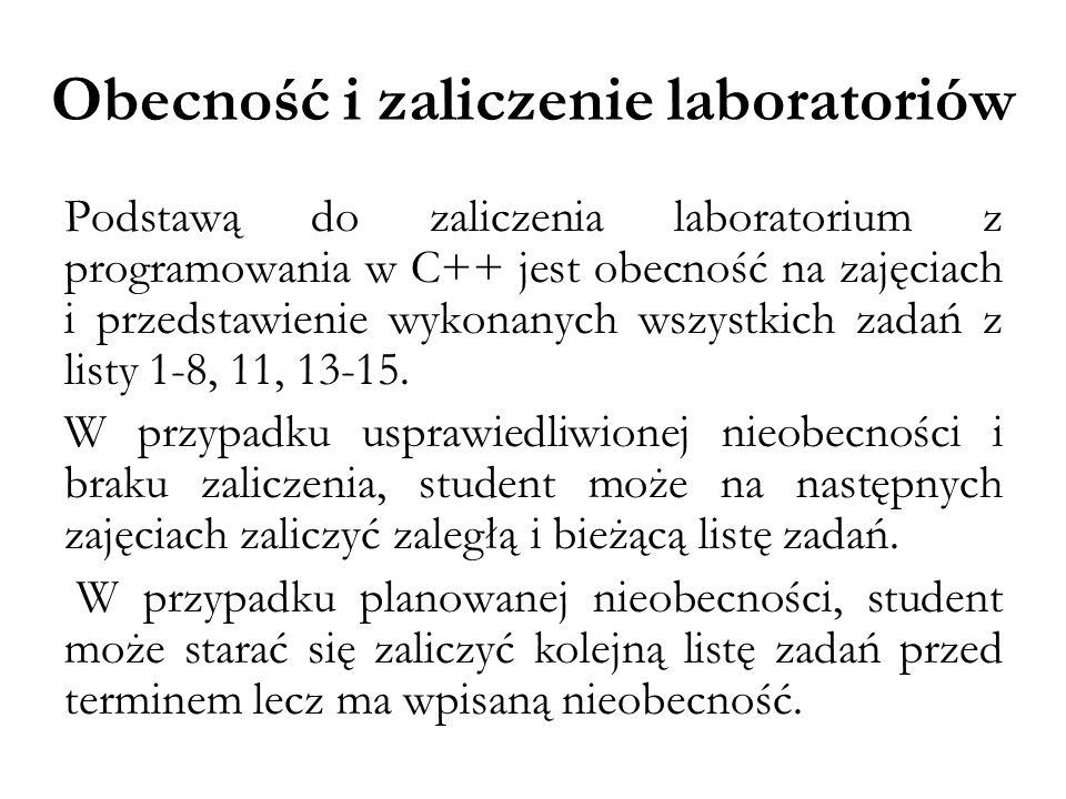 Obecność i zaliczenie laboratoriów