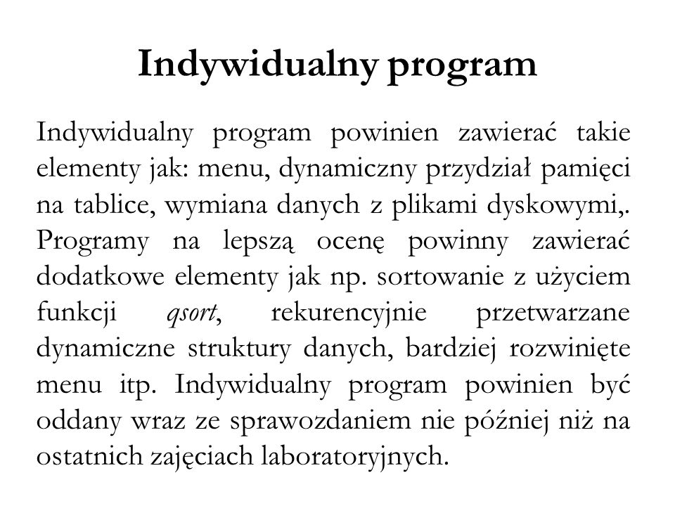 Indywidualny program