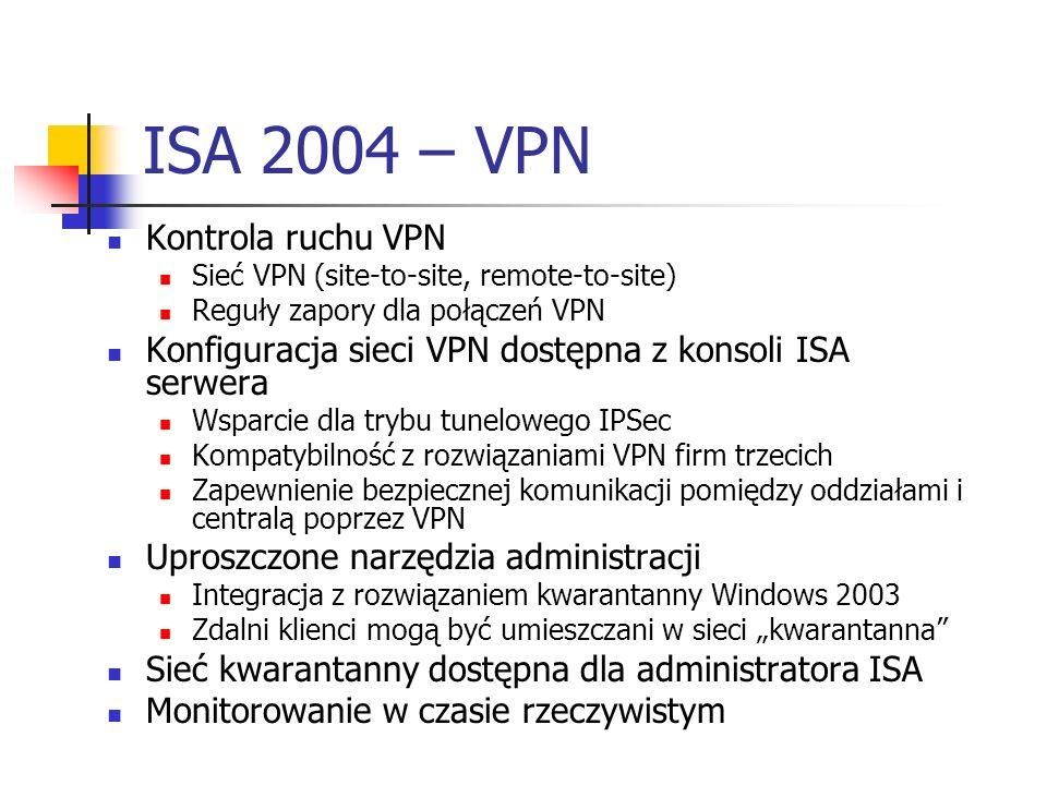 ISA 2004 – VPN Kontrola ruchu VPN