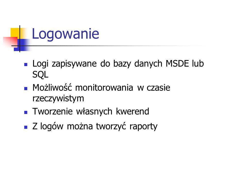Logowanie Logi zapisywane do bazy danych MSDE lub SQL