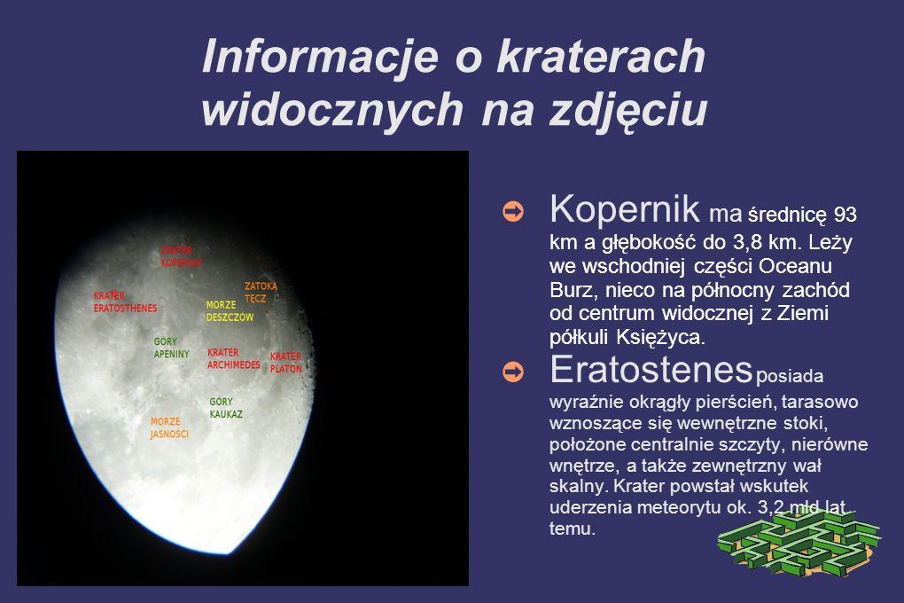 Informacje o kraterach widocznych na zdjęciu
