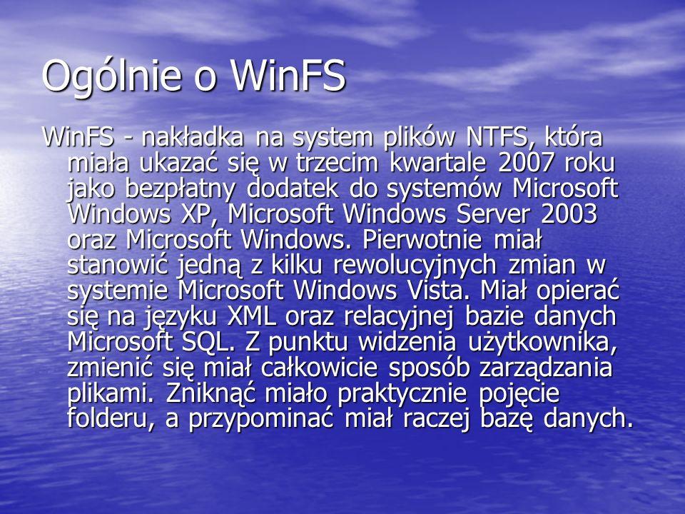 Ogólnie o WinFS
