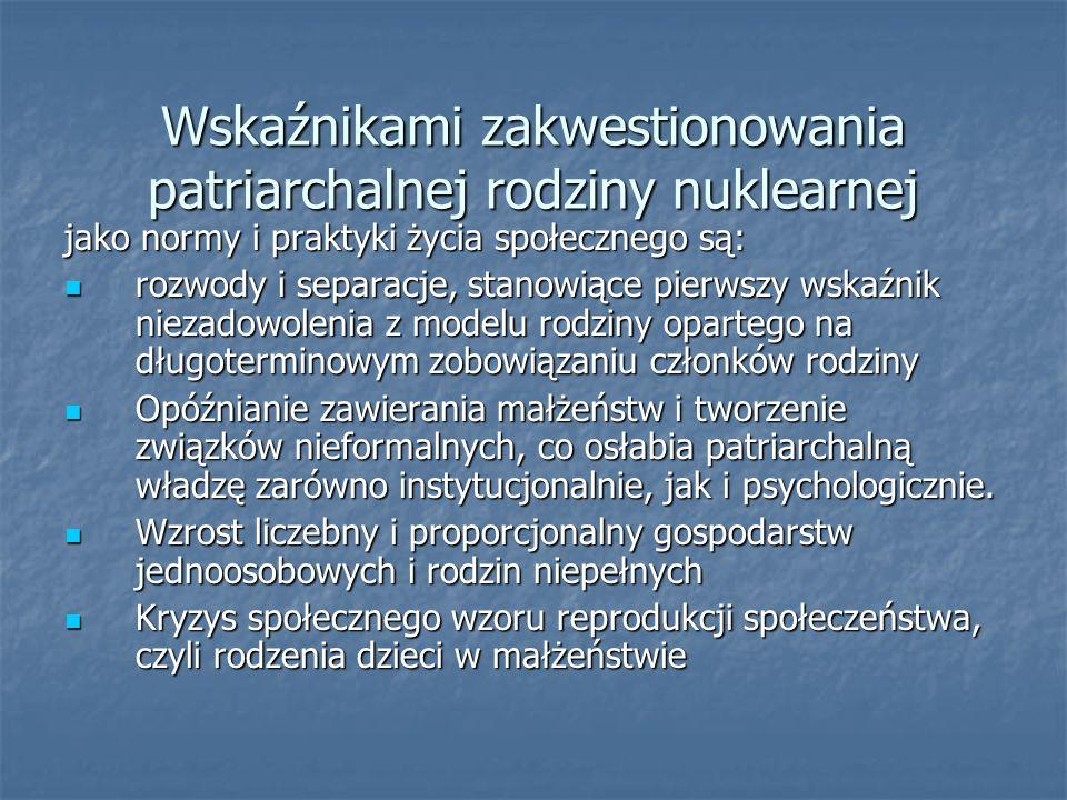 Wskaźnikami zakwestionowania patriarchalnej rodziny nuklearnej