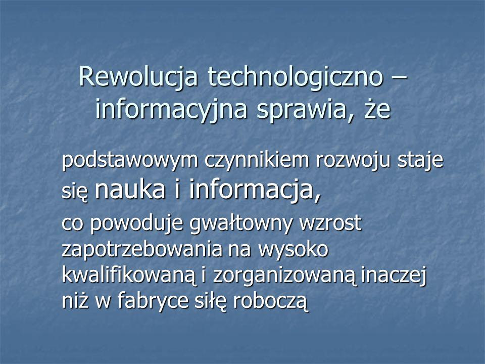 Rewolucja technologiczno – informacyjna sprawia, że