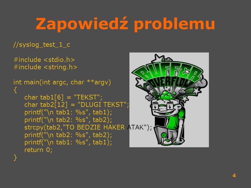 Zapowiedź problemu //syslog_test_1_c #include <stdio.h>