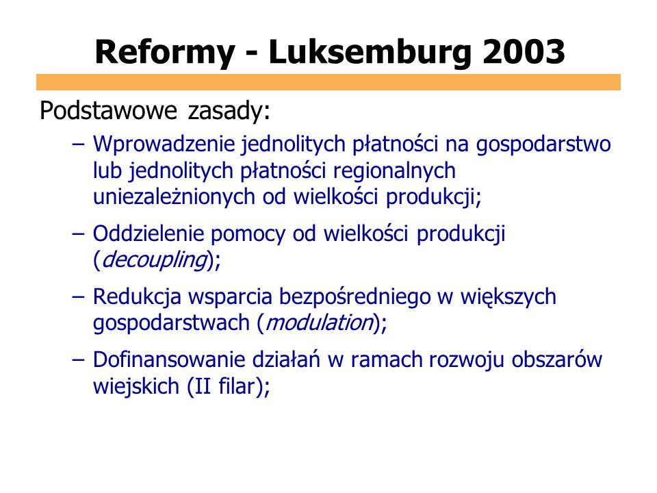 Reformy - Luksemburg 2003 Podstawowe zasady: