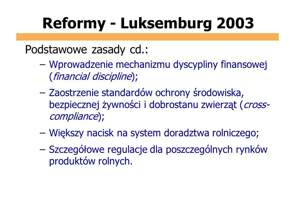 Reformy - Luksemburg 2003 Podstawowe zasady cd.: