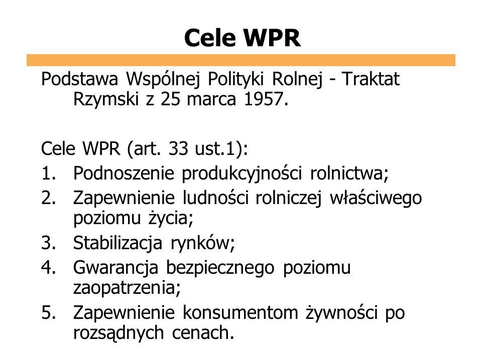 Cele WPR Podstawa Wspólnej Polityki Rolnej - Traktat Rzymski z 25 marca 1957. Cele WPR (art. 33 ust.1):