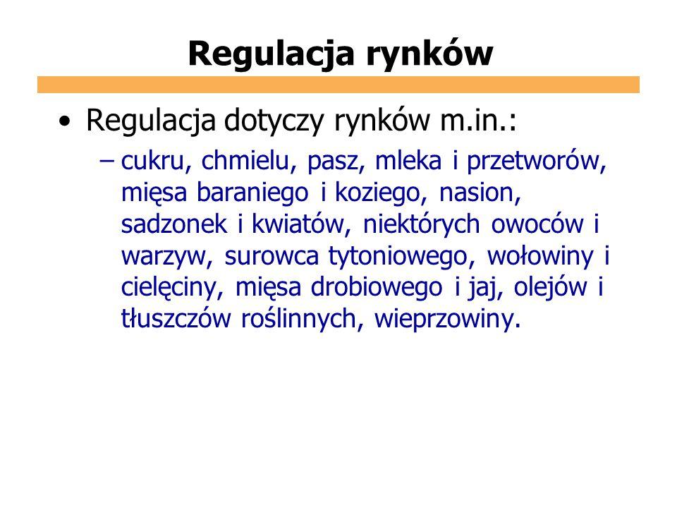 Regulacja rynków Regulacja dotyczy rynków m.in.: