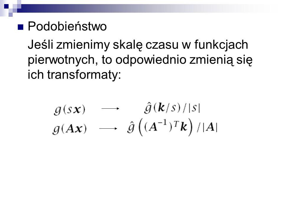 Podobieństwo Jeśli zmienimy skalę czasu w funkcjach pierwotnych, to odpowiednio zmienią się ich transformaty: