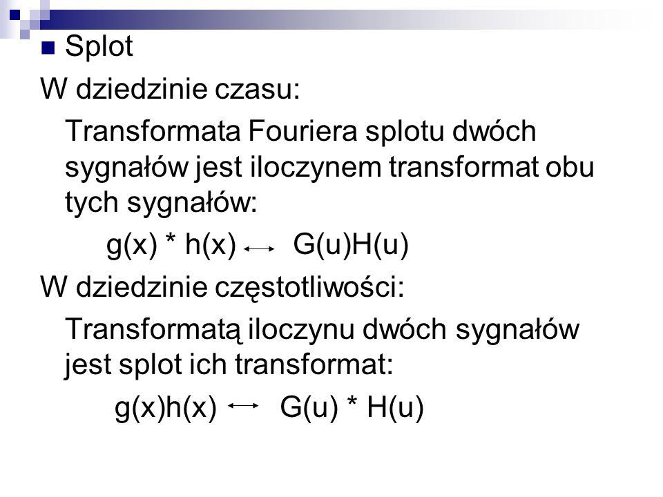 Splot W dziedzinie czasu: Transformata Fouriera splotu dwóch sygnałów jest iloczynem transformat obu tych sygnałów: