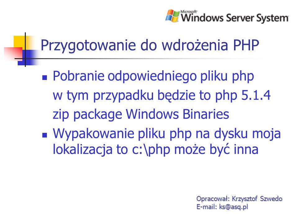 Przygotowanie do wdrożenia PHP
