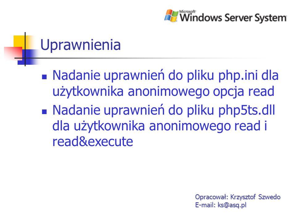 Uprawnienia Nadanie uprawnień do pliku php.ini dla użytkownika anonimowego opcja read.