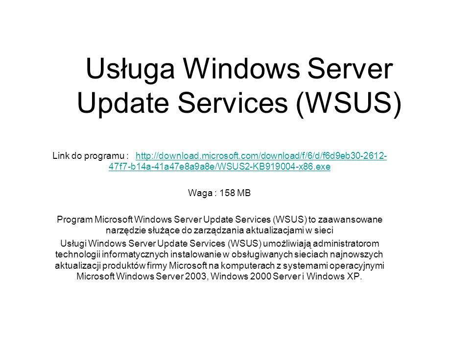 Usługa Windows Server Update Services (WSUS)
