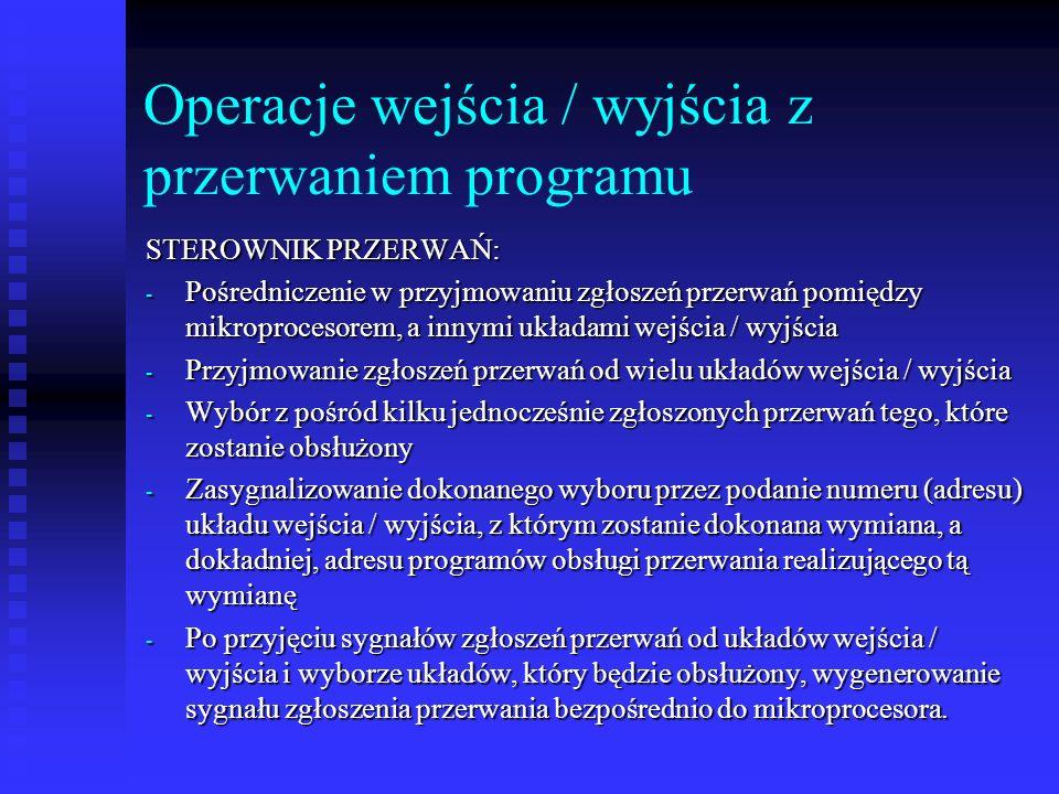 Operacje wejścia / wyjścia z przerwaniem programu