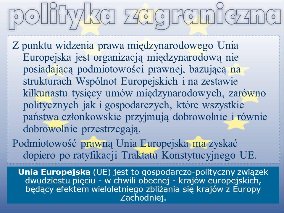 Z punktu widzenia prawa międzynarodowego Unia Europejska jest organizacją międzynarodową nie posiadającą podmiotowości prawnej, bazującą na strukturach Wspólnot Europejskich i na zestawie kilkunastu tysięcy umów międzynarodowych, zarówno politycznych jak i gospodarczych, które wszystkie państwa członkowskie przyjmują dobrowolnie i równie dobrowolnie przestrzegają.