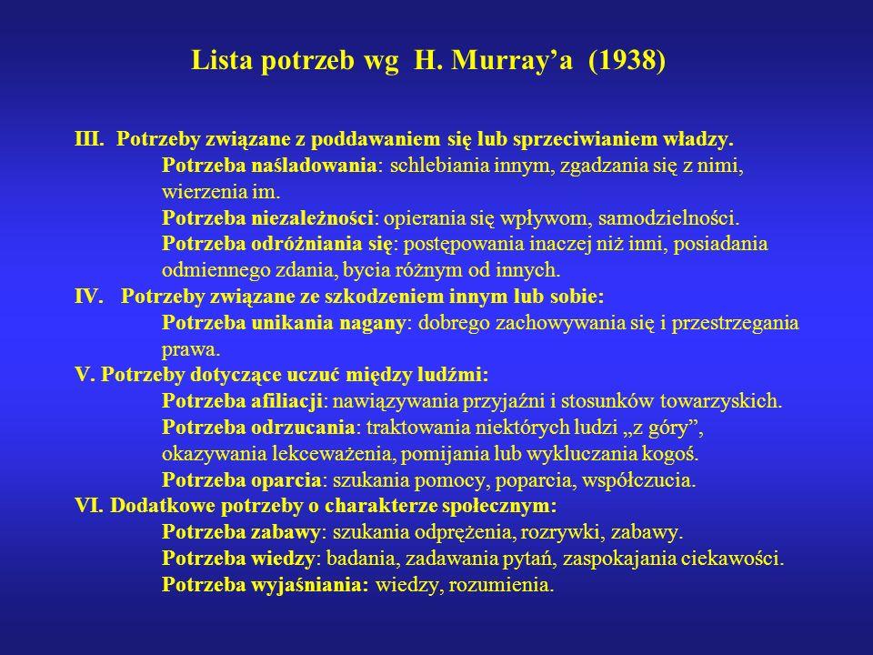 Lista potrzeb wg H. Murray'a (1938)