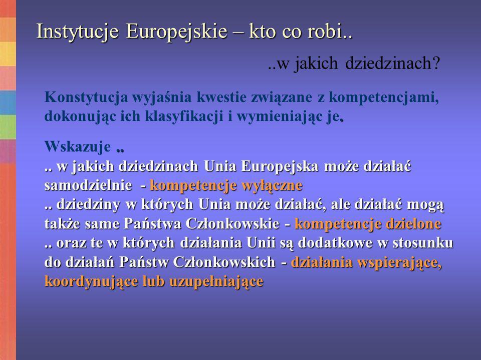 Instytucje Europejskie – kto co robi..