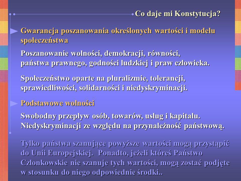Co daje mi Konstytucja Gwarancja poszanowania określonych wartości i modelu. społeczeństwa. Poszanowanie wolności, demokracji, równości,