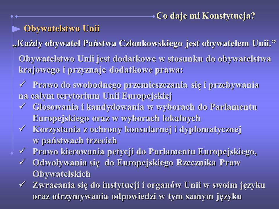 """Co daje mi Konstytucja Obywatelstwo Unii. """"Każdy obywatel Państwa Członkowskiego jest obywatelem Unii."""