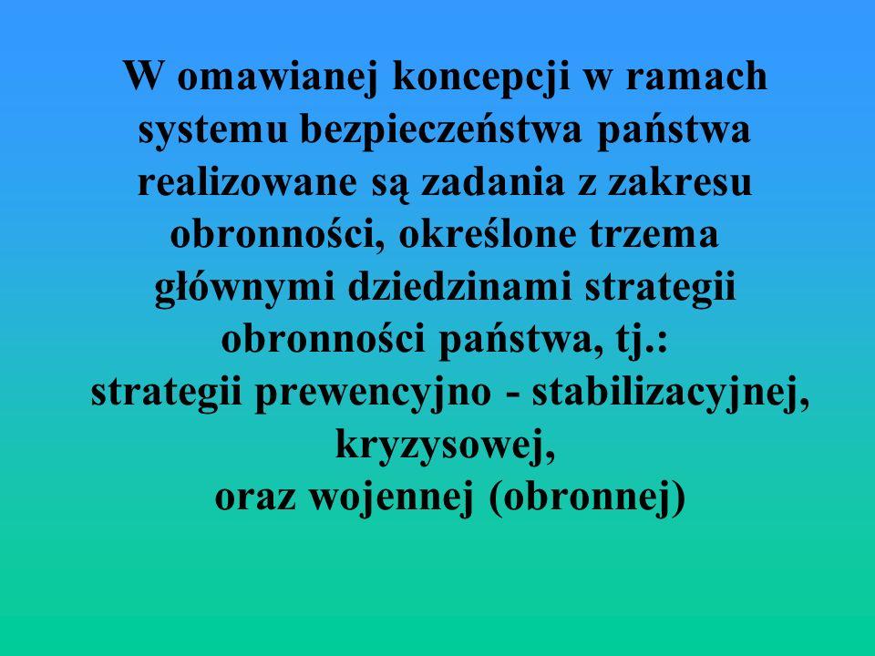 W omawianej koncepcji w ramach systemu bezpieczeństwa państwa realizowane są zadania z zakresu obronności, określone trzema głównymi dziedzinami strategii obronności państwa, tj.: strategii prewencyjno - stabilizacyjnej, kryzysowej, oraz wojennej (obronnej)