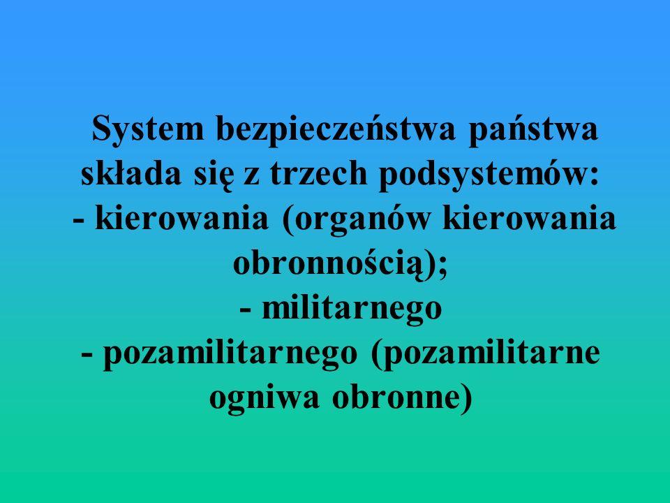 System bezpieczeństwa państwa składa się z trzech podsystemów: - kierowania (organów kierowania obronnością); - militarnego - pozamilitarnego (pozamilitarne ogniwa obronne)