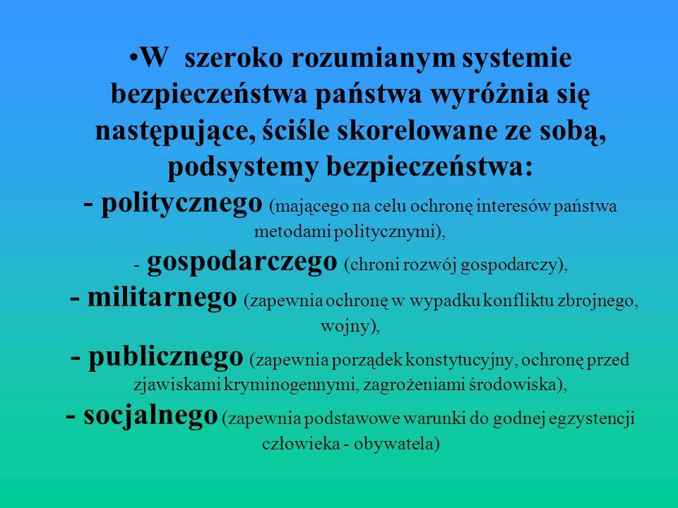 W szeroko rozumianym systemie bezpieczeństwa państwa wyróżnia się następujące, ściśle skorelowane ze sobą, podsystemy bezpieczeństwa: - politycznego (mającego na celu ochronę interesów państwa metodami politycznymi), - gospodarczego (chroni rozwój gospodarczy), - militarnego (zapewnia ochronę w wypadku konfliktu zbrojnego, wojny), - publicznego (zapewnia porządek konstytucyjny, ochronę przed zjawiskami kryminogennymi, zagrożeniami środowiska), - socjalnego (zapewnia podstawowe warunki do godnej egzystencji człowieka - obywatela)