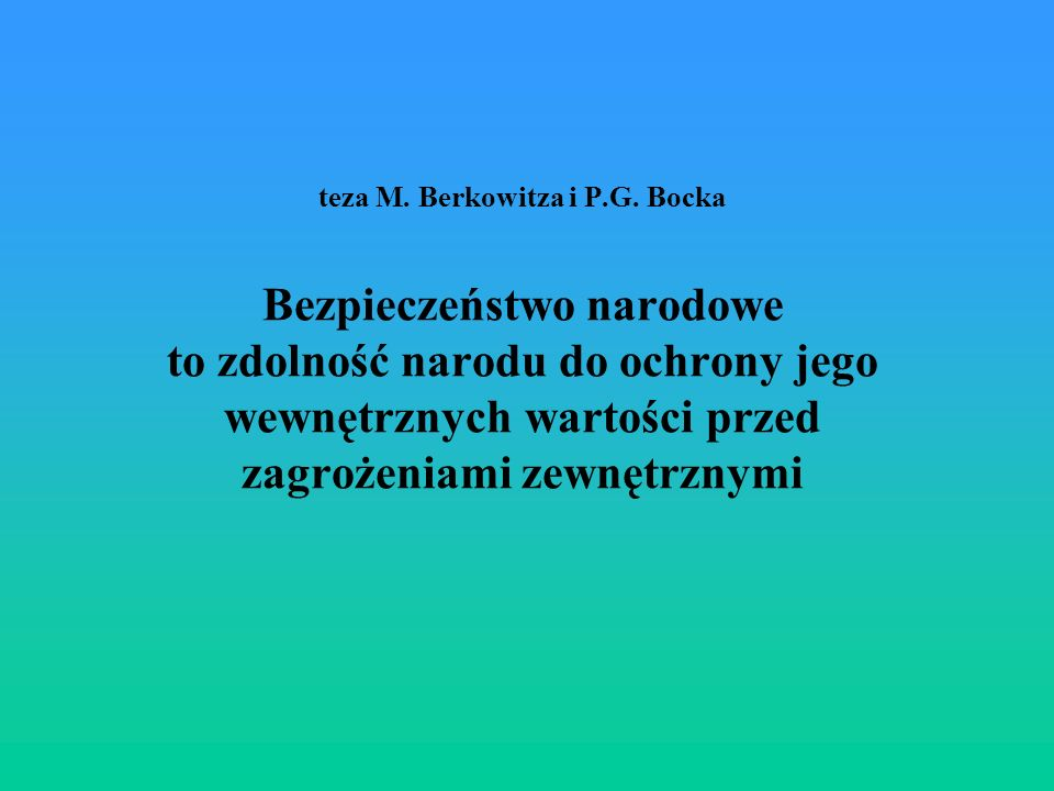 teza M. Berkowitza i P.G.