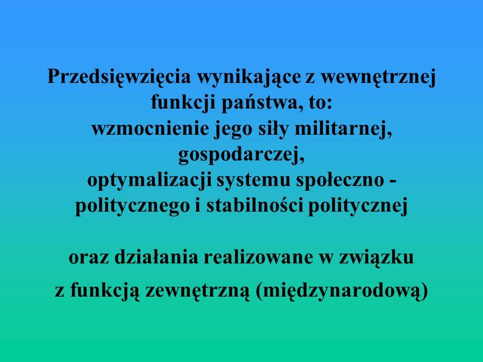 Przedsięwzięcia wynikające z wewnętrznej funkcji państwa, to: wzmocnienie jego siły militarnej, gospodarczej, optymalizacji systemu społeczno - politycznego i stabilności politycznej oraz działania realizowane w związku z funkcją zewnętrzną (międzynarodową)