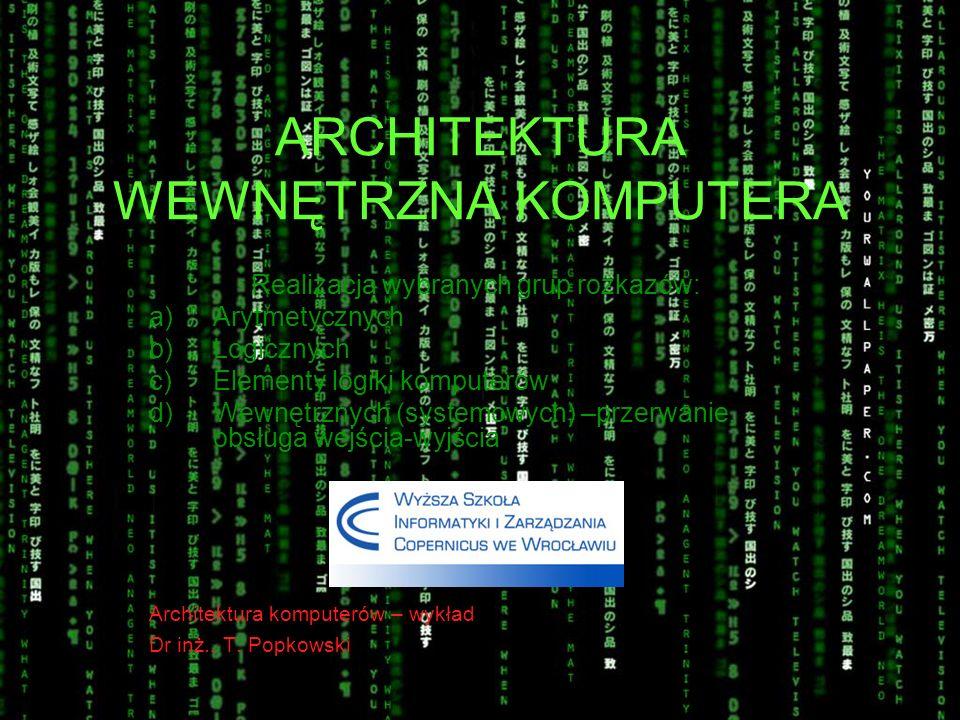 ARCHITEKTURA WEWNĘTRZNA KOMPUTERA